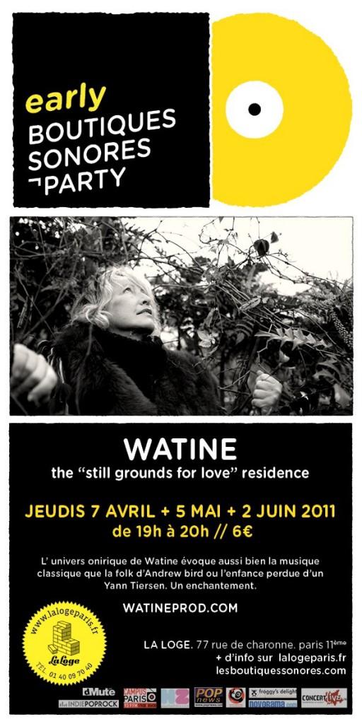 Watine en résidence les 1ers Jeudi d'avril, mai, juin pour 3 concerts à LA LOGE (programmation LES BOUTIQUES SONORES)