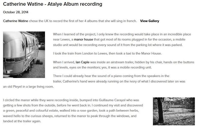 4 jours dans le Sussex pour enregistrer l'album ATALAYE en live (Automne 2014)